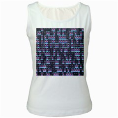 Techno Fractal Wallpaper Women s White Tank Top
