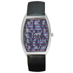 Techno Fractal Wallpaper Barrel Style Metal Watch by Simbadda