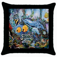 Colorful Aquatic Life Wall Mural Throw Pillow Case (black) by Simbadda