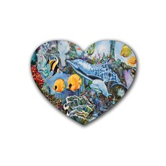 Colorful Aquatic Life Wall Mural Heart Coaster (4 Pack)  by Simbadda
