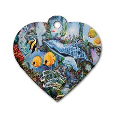 Colorful Aquatic Life Wall Mural Dog Tag Heart (two Sides) by Simbadda
