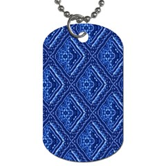 Blue Fractal Background Dog Tag (two Sides)
