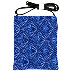 Blue Fractal Background Shoulder Sling Bags by Simbadda