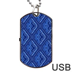 Blue Fractal Background Dog Tag Usb Flash (two Sides) by Simbadda