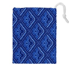 Blue Fractal Background Drawstring Pouches (xxl) by Simbadda