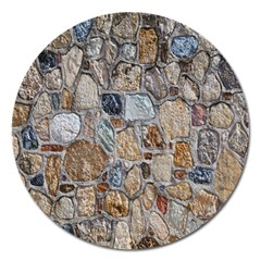 Multi Color Stones Wall Texture Magnet 5  (round) by Simbadda