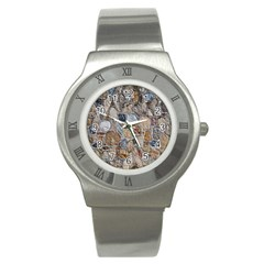 Multi Color Stones Wall Texture Stainless Steel Watch by Simbadda