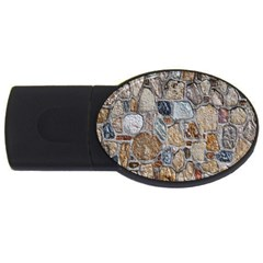 Multi Color Stones Wall Texture Usb Flash Drive Oval (4 Gb) by Simbadda