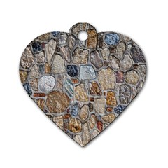 Multi Color Stones Wall Texture Dog Tag Heart (two Sides) by Simbadda