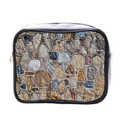 Multi Color Stones Wall Texture Mini Toiletries Bags by Simbadda