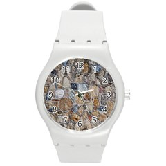 Multi Color Stones Wall Texture Round Plastic Sport Watch (m) by Simbadda