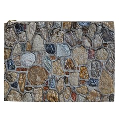 Multi Color Stones Wall Texture Cosmetic Bag (xxl)  by Simbadda