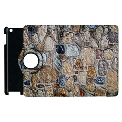 Multi Color Stones Wall Texture Apple Ipad 3/4 Flip 360 Case by Simbadda