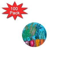 Mural Displaying Array Of Garden Vegetables 1  Mini Buttons (100 Pack)  by Simbadda