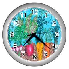 Mural Displaying Array Of Garden Vegetables Wall Clocks (silver)