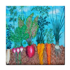 Mural Displaying Array Of Garden Vegetables Face Towel by Simbadda