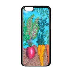 Mural Displaying Array Of Garden Vegetables Apple Iphone 6/6s Black Enamel Case by Simbadda