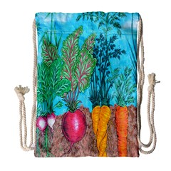 Mural Displaying Array Of Garden Vegetables Drawstring Bag (large) by Simbadda