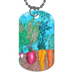 Mural Displaying Array Of Garden Vegetables Dog Tag (one Side) by Simbadda