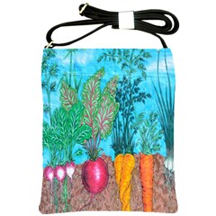 Mural Displaying Array Of Garden Vegetables Shoulder Sling Bags by Simbadda