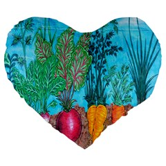 Mural Displaying Array Of Garden Vegetables Large 19  Premium Flano Heart Shape Cushions by Simbadda
