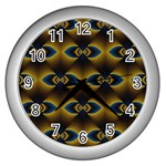 Fractal Multicolored Background Wall Clocks (Silver)  Front