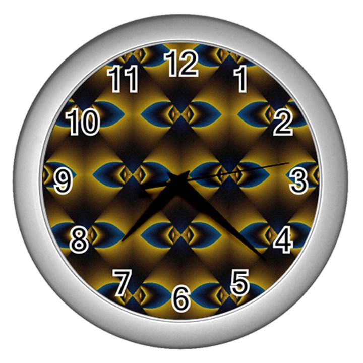 Fractal Multicolored Background Wall Clocks (Silver)