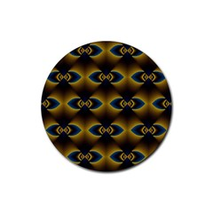 Fractal Multicolored Background Rubber Coaster (round)  by Simbadda