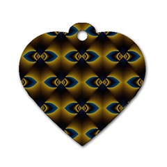 Fractal Multicolored Background Dog Tag Heart (two Sides)