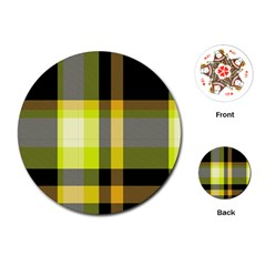 Tartan Pattern Background Fabric Design Playing Cards (round)  by Simbadda