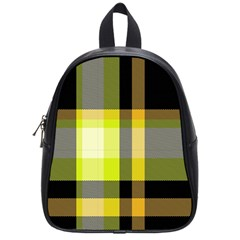 Tartan Pattern Background Fabric Design School Bags (small)  by Simbadda