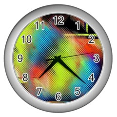 Punctulated Colorful Ground Noise Nervous Sorcery Sight Screen Pattern Wall Clocks (silver)  by Simbadda
