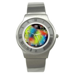 Punctulated Colorful Ground Noise Nervous Sorcery Sight Screen Pattern Stainless Steel Watch by Simbadda