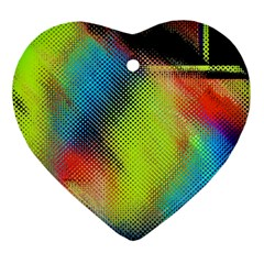 Punctulated Colorful Ground Noise Nervous Sorcery Sight Screen Pattern Heart Ornament (two Sides)