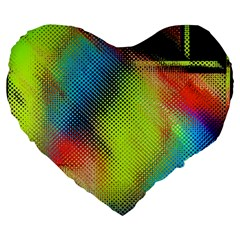 Punctulated Colorful Ground Noise Nervous Sorcery Sight Screen Pattern Large 19  Premium Heart Shape Cushions by Simbadda