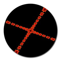 Red Fractal Cross Digital Computer Graphic Round Mousepads