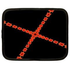 Red Fractal Cross Digital Computer Graphic Netbook Case (xxl)  by Simbadda