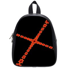 Red Fractal Cross Digital Computer Graphic School Bags (small)  by Simbadda