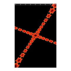 Red Fractal Cross Digital Computer Graphic Shower Curtain 48  X 72  (small)  by Simbadda