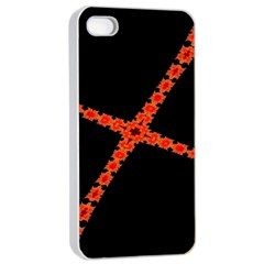 Red Fractal Cross Digital Computer Graphic Apple Iphone 4/4s Seamless Case (white) by Simbadda