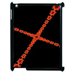 Red Fractal Cross Digital Computer Graphic Apple Ipad 2 Case (black) by Simbadda