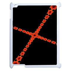 Red Fractal Cross Digital Computer Graphic Apple Ipad 2 Case (white) by Simbadda