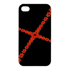 Red Fractal Cross Digital Computer Graphic Apple Iphone 4/4s Premium Hardshell Case by Simbadda