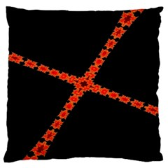 Red Fractal Cross Digital Computer Graphic Large Cushion Case (two Sides)
