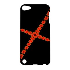 Red Fractal Cross Digital Computer Graphic Apple Ipod Touch 5 Hardshell Case by Simbadda
