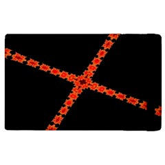 Red Fractal Cross Digital Computer Graphic Apple Ipad 3/4 Flip Case by Simbadda