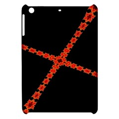 Red Fractal Cross Digital Computer Graphic Apple Ipad Mini Hardshell Case by Simbadda