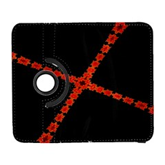 Red Fractal Cross Digital Computer Graphic Galaxy S3 (flip/folio) by Simbadda