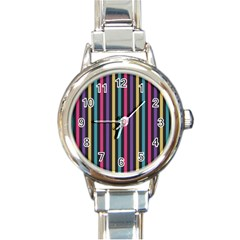 Stripes Colorful Multi Colored Bright Stripes Wallpaper Background Pattern Round Italian Charm Watch by Simbadda