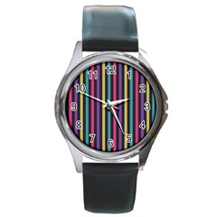 Stripes Colorful Multi Colored Bright Stripes Wallpaper Background Pattern Round Metal Watch